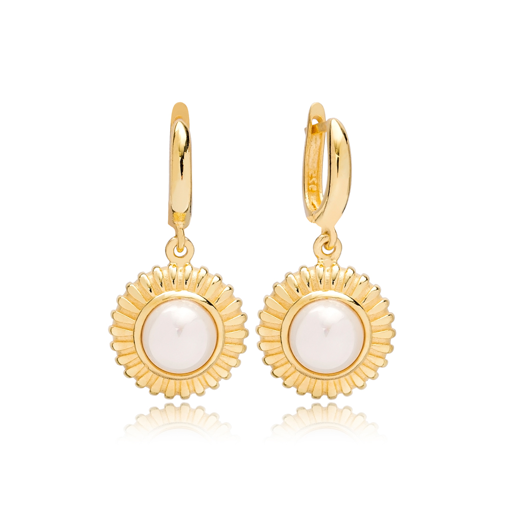 Dainty Round Pearl Charm Dangle Earrings Turkish Wholesale 925 Sterling Silver Jewellery
