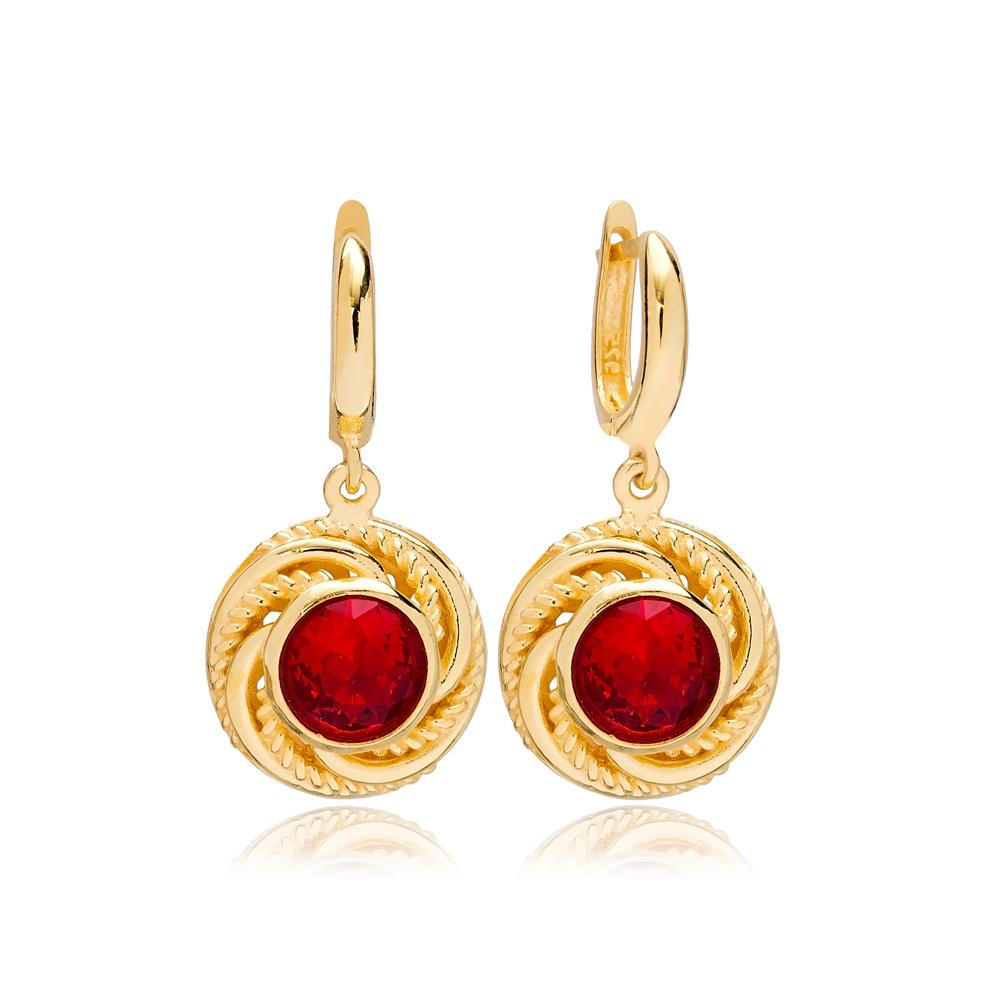 Dainty Round Garnet Charm Dangle Earrings Turkish Wholesale 925 Sterling Silver Jewellery
