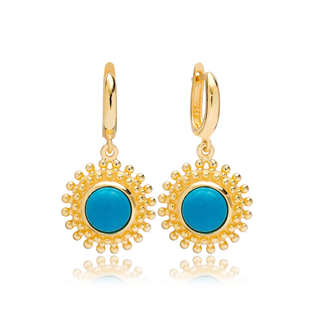 Dainty Round Turquoise Charm Dangle Earrings Turkish Wholesale 925 Sterling Silver Jewellery