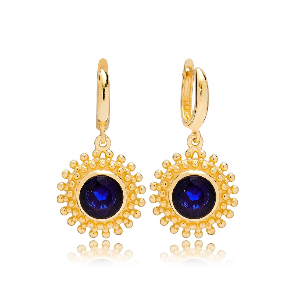 Dainty Round Blue Sapphire Charm Dangle Earrings Turkish Wholesale 925 Sterling Silver Jewellery