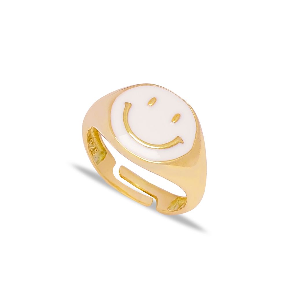 White Smile Face Enamel Design Adjustable Ring Wholesale 925 Silver Sterling Jewelry