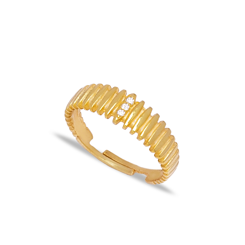 Unique Design Zircon Stone Adjustable Ring Handmade 925 Silver Sterling Jewelry