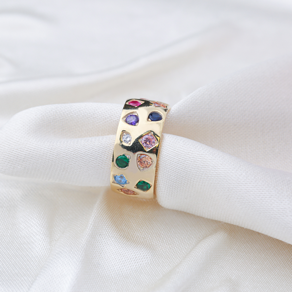 Unique Design Mix Zirconia Stone Band Ring Wholesale Handcrafted Turkish 925 Sterling Silver Jewelry