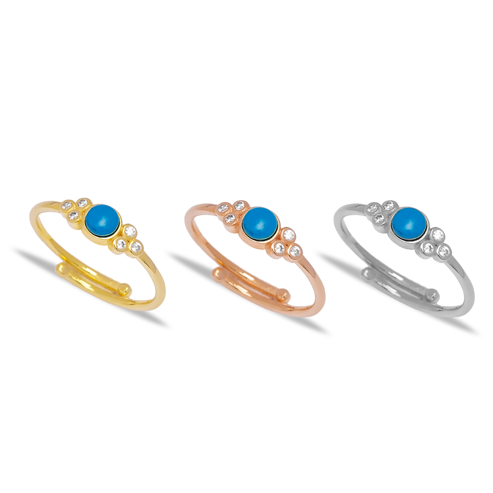 Dainty Turquoise and Zirconia Stone Adjustable Ring Wholesale 925 Sterling Silver Jewelry