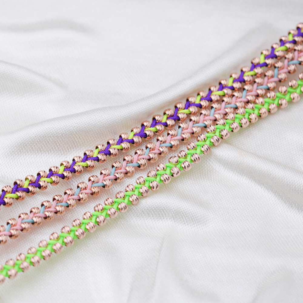 Pink and Sea Green Colour Knitting Design Turkish Wholesale Handcrafted Silver Anklet