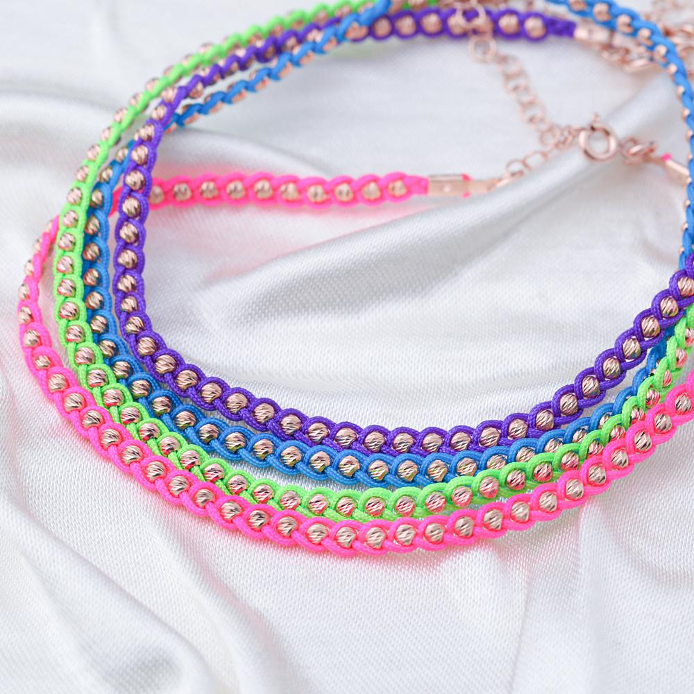 Fuschia Knitting Anklet Wholesale Handmade 925 Sterling Silver Jewellery