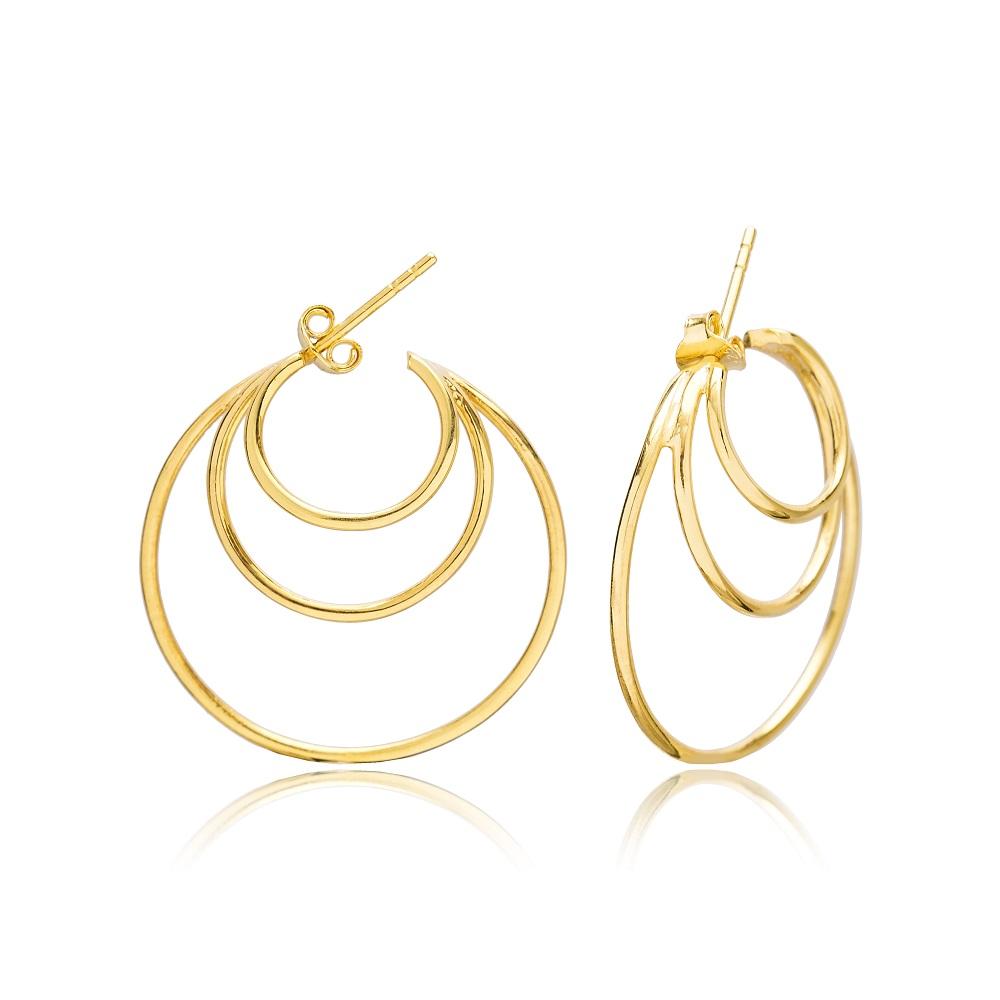 Multi Hoops Elegant Style Stud Earring Wholesale Turkish 925 Silver Sterling Jewelry