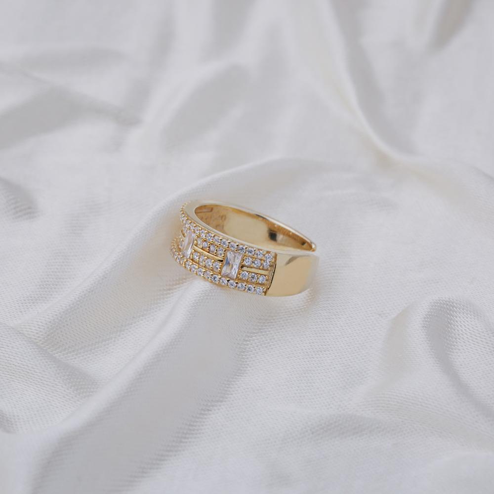 Elegant Baguette Zirconia Stone Adjustable Ring Turkish Handmade Wholesale 925 Sterling Silver Jewelry