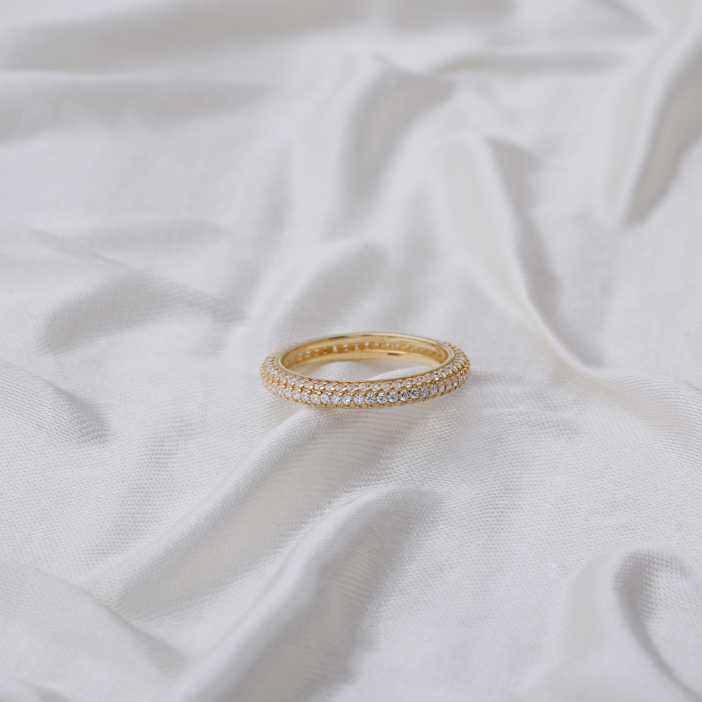 Pave Zirconia Stone Band Ring Wholesale Handcrafted Silver Jewelry
