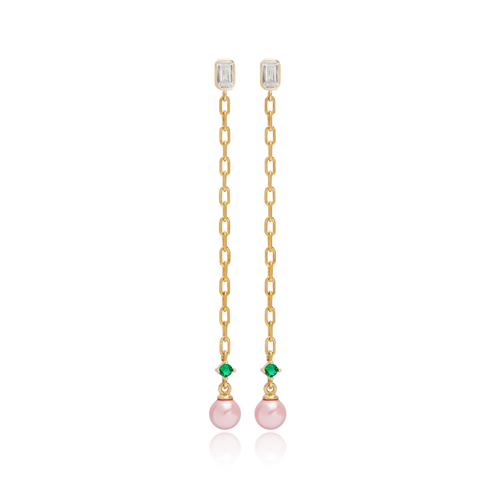 Dainty Pink Mallorca Pearl Charm Stud Design Long Earrings Turkish Wholesale 925 Sterling Silver Jewelry