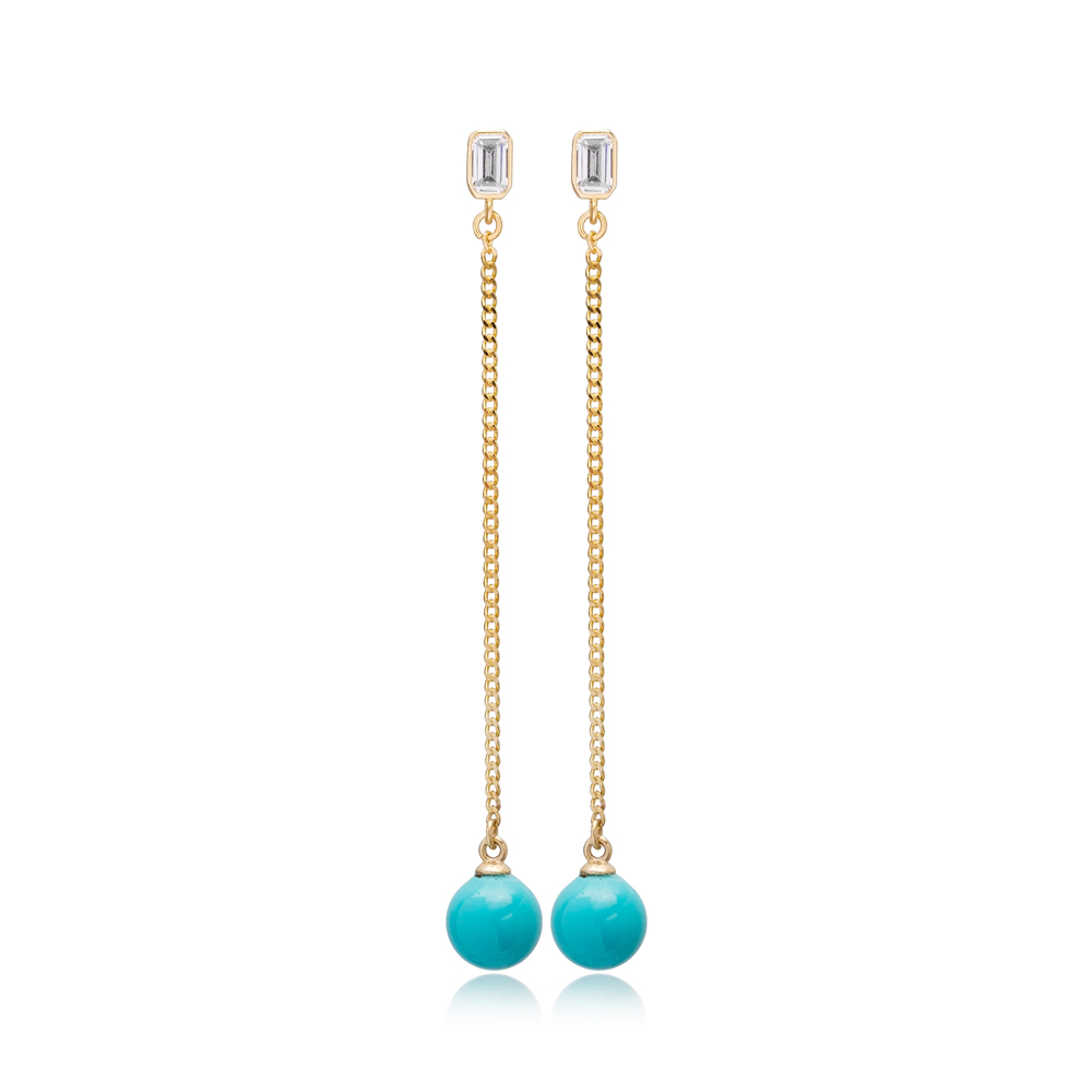 Trendy Turquoise Mallorca Pearl Charm Stud Design Long Earrings Turkish Wholesale 925 Sterling Silver Jewelry
