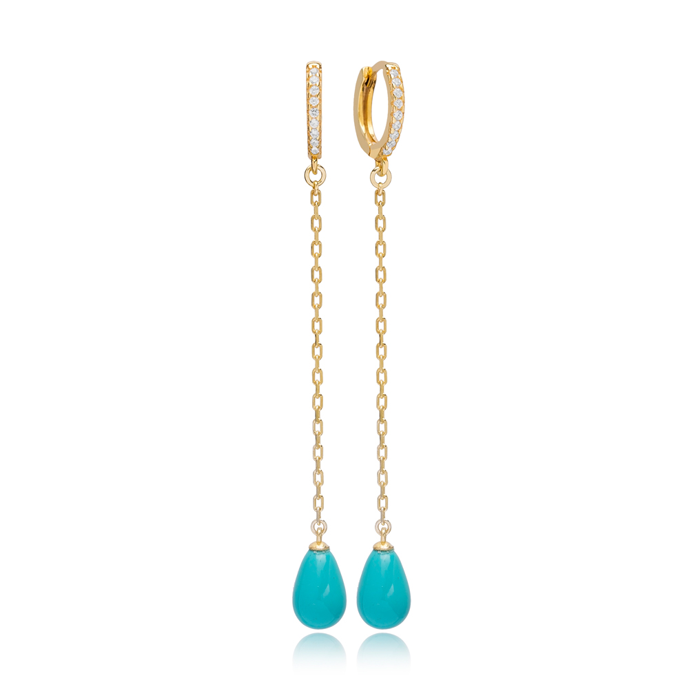 Drop Turquoise Mallorca Pearl Charm Dangle Long Earrings Turkish Wholesale 925 Sterling Silver Jewelry