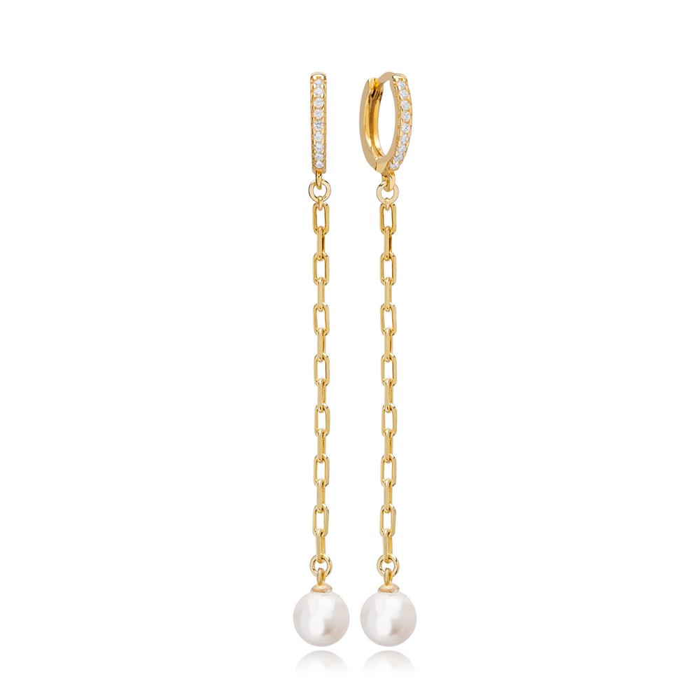 Fine White Mallorca Pearl Charm Dangle Long Earrings Turkish Wholesale 925 Sterling Silver Jewelry