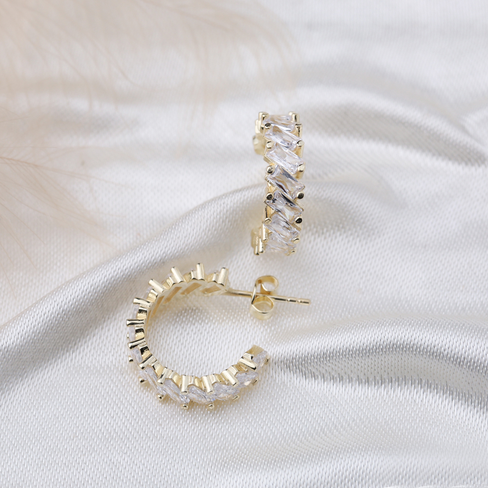 Unique Baguette Stud Design Hoop Earrings Turkish Handmade Wholesale 925 Sterling Silver Jewelry