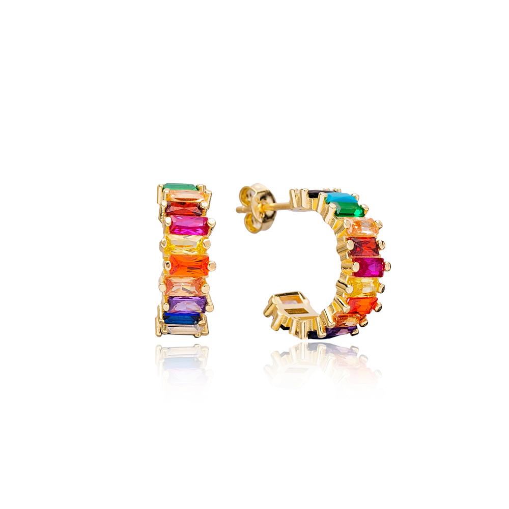 Rainbow Zirconia Stone Baguette Stud Design Hoop Earrings Turkish Handmade Wholesale 925 Sterling Silver Jewelry