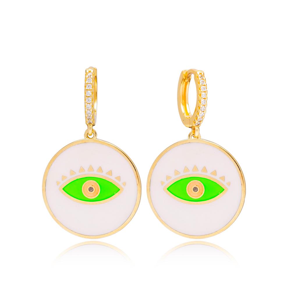 Trendy Enamel Evil Eye Design Handcrafted Turkish Wholesale 925 Sterling Silver Dangle Earrings Jewelry