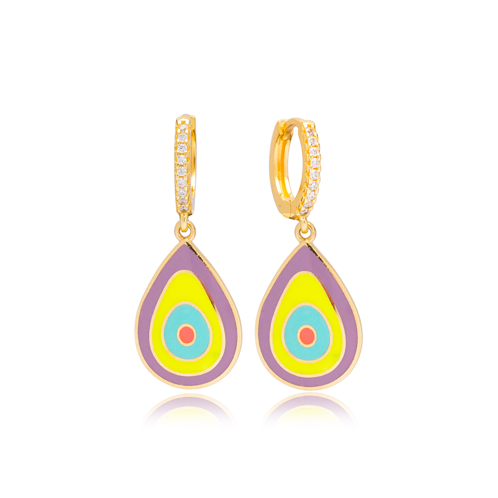 Colorful Pear Design Enamel Charm Handcrafted Turkish Wholesale 925 Sterling Silver Dangle Earrings Jewelry