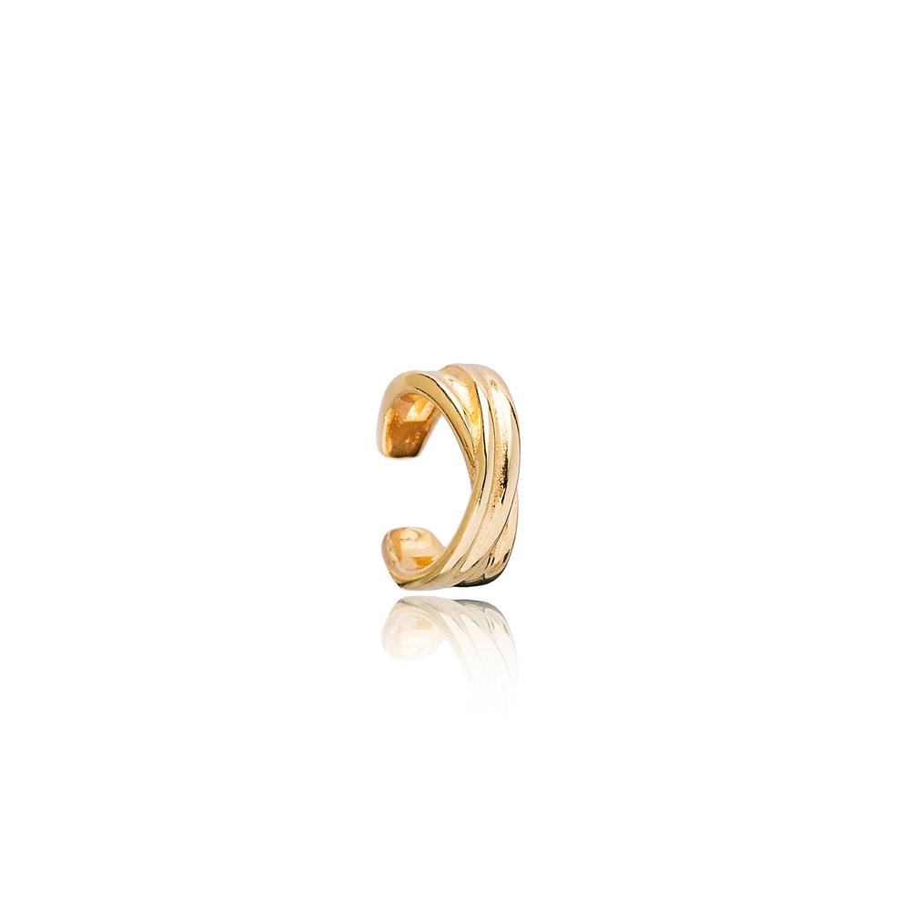 Minimalist X Design Cartilage Single Earring Turkish 925 Silver Sterling