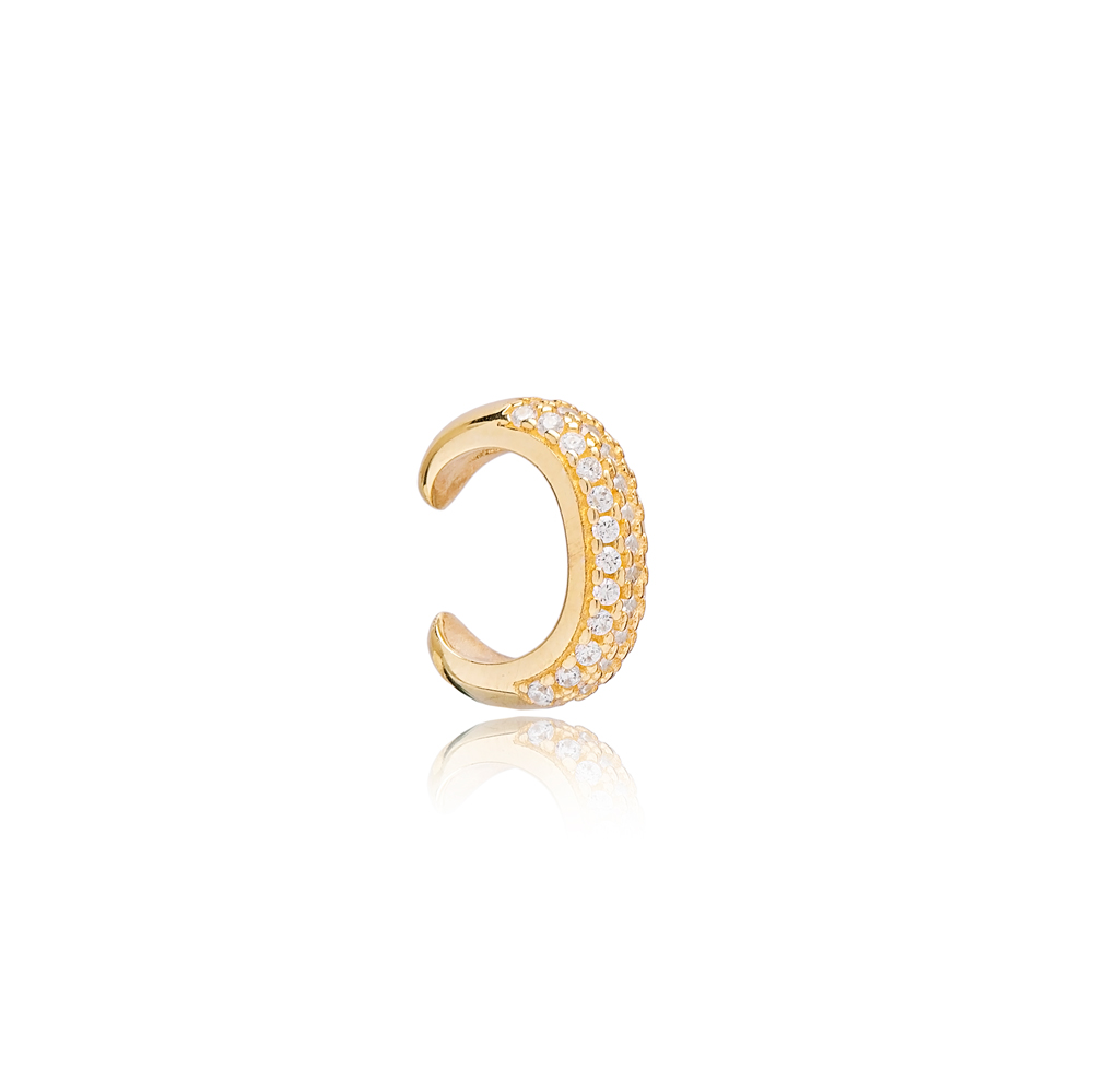 Stylish Design Zirconia Stone Cartilage Single Earring Turkish 925 Silver Sterling