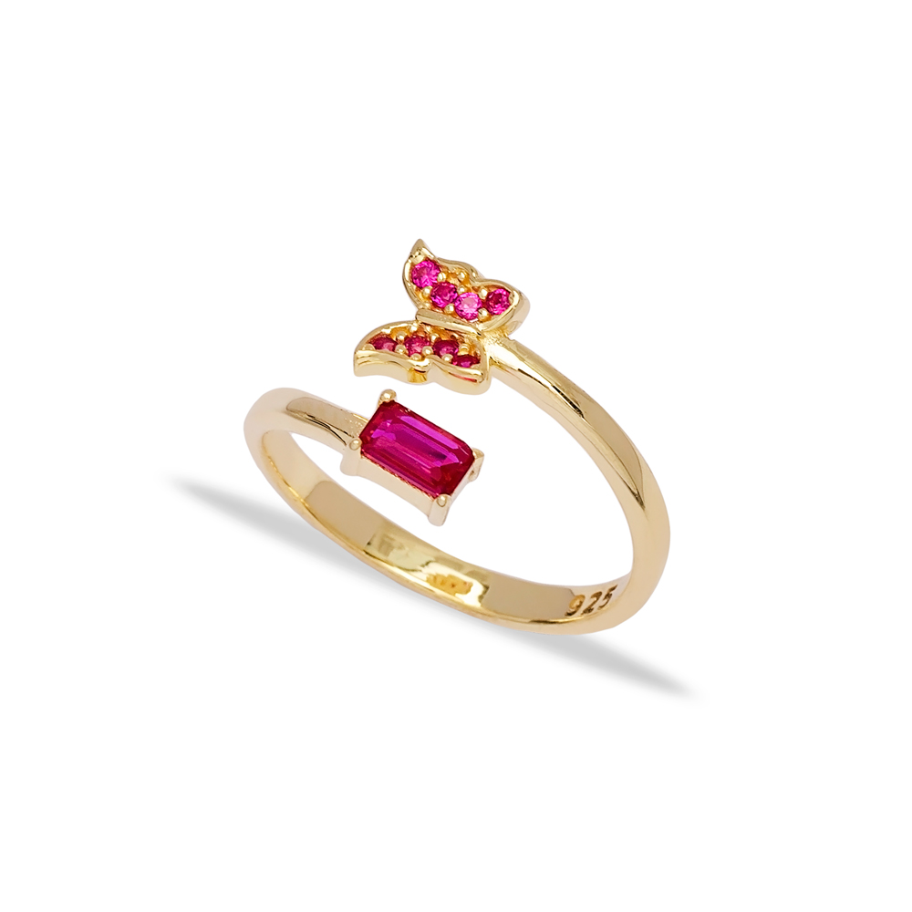 Stylish Butterfly Design Ruby Stone Adjustable Ring Turkish Wholesale 925 Silver Sterling Jewelry