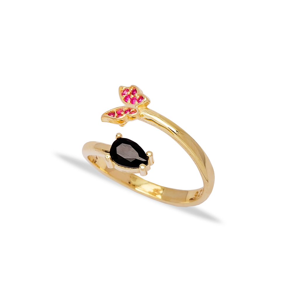 Fancy Butterfly Design Black Zirconia and Ruby Stone Adjustable Ring Turkish Wholesale 925 Silver Sterling Jewelry