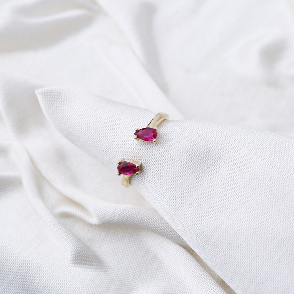 Double Drop Design Ruby Stone Adjustable Ring Wholesale 925 Silver Sterling Jewelry