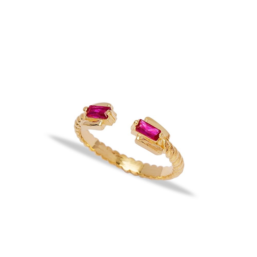 Fashion Double Baguette Design Ruby Stone Adjustable Ring Wholesale 925 Silver Sterling Jewelry