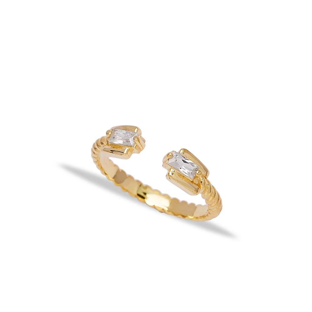 Stylish Double Baguette Design Zirconia Stone Adjustable Ring Wholesale 925 Silver Sterling Jewelry
