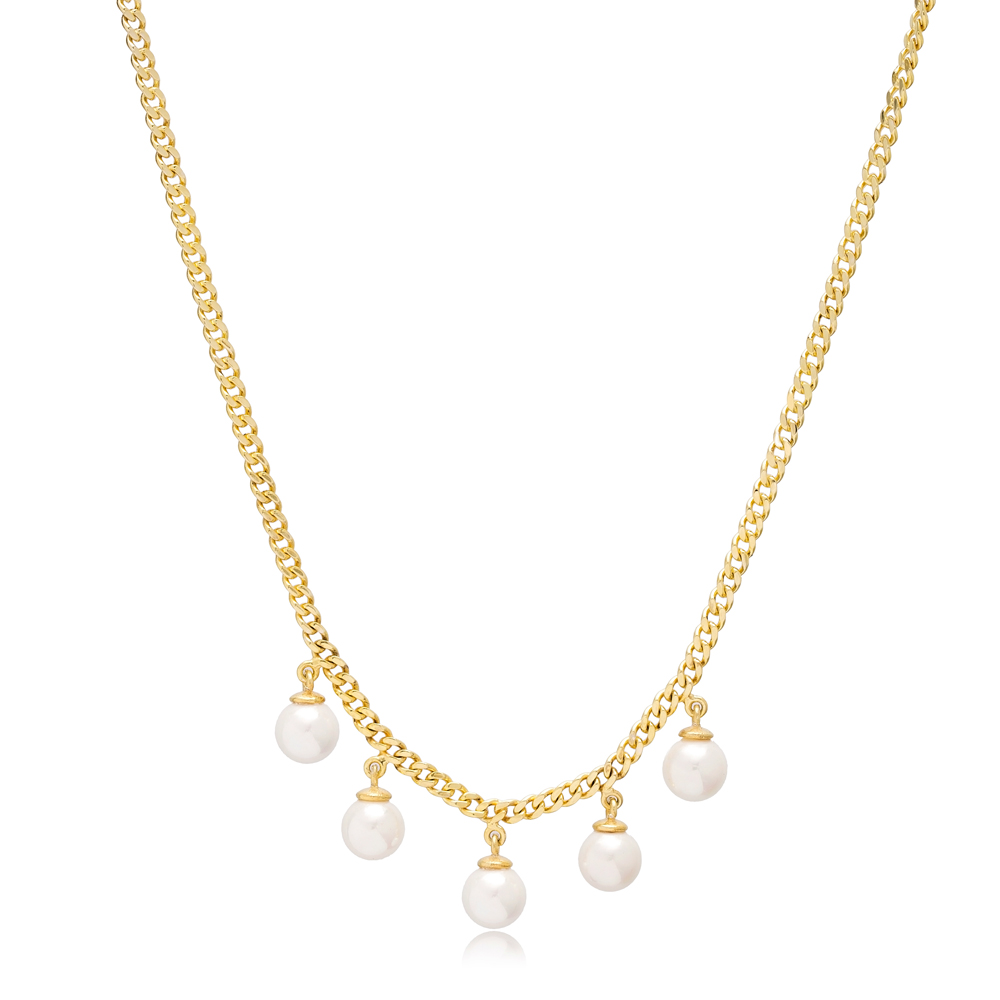 Elegant Multi Pearl Charms Shaker Pendant Necklace Wholesale 925 Sterling Silver Jewelry
