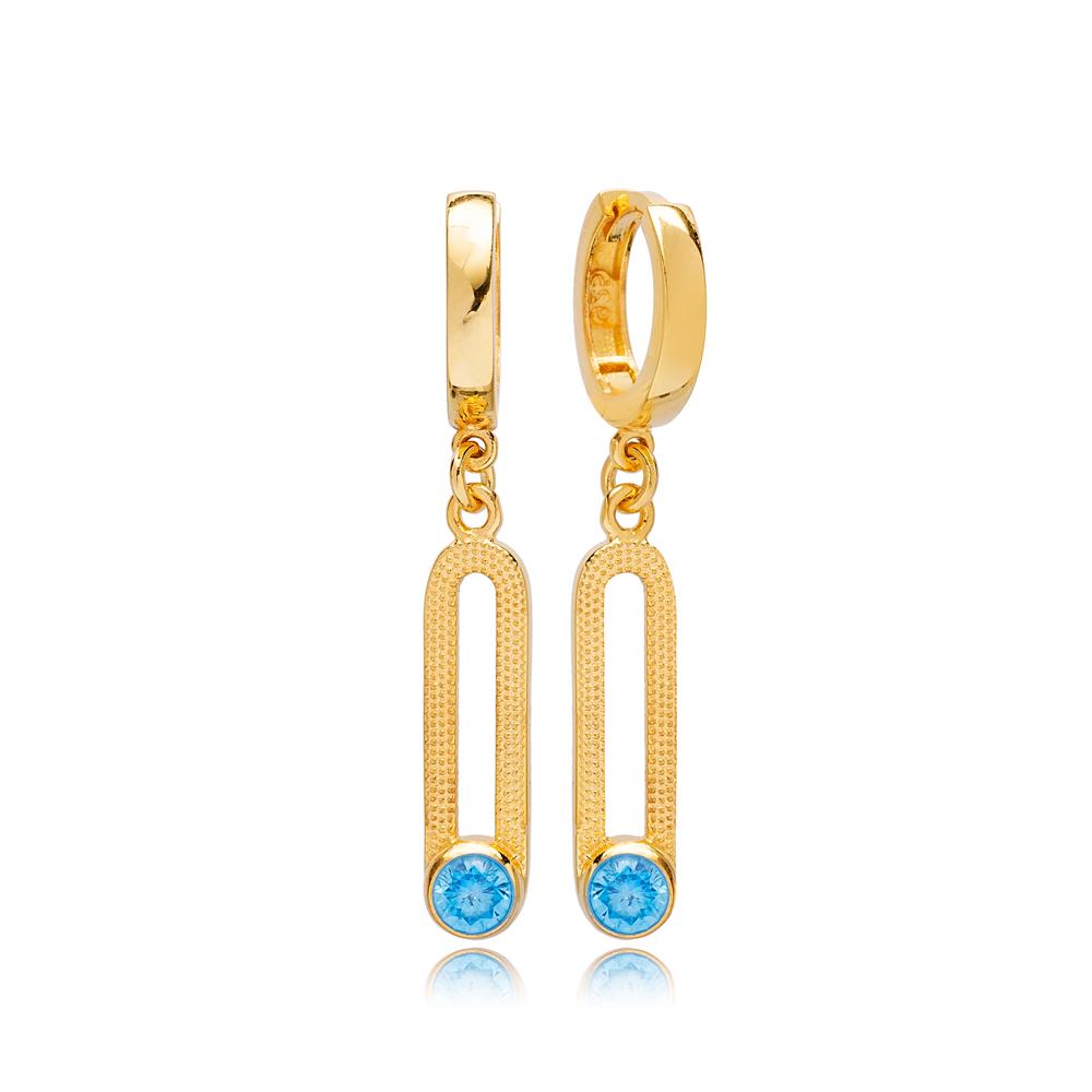 Dainty March Birthstone Blue Aquamarine Ø12mm Hoop Dangle Earrings Wholesale Turkish 925 Silver Sterling Jewelry