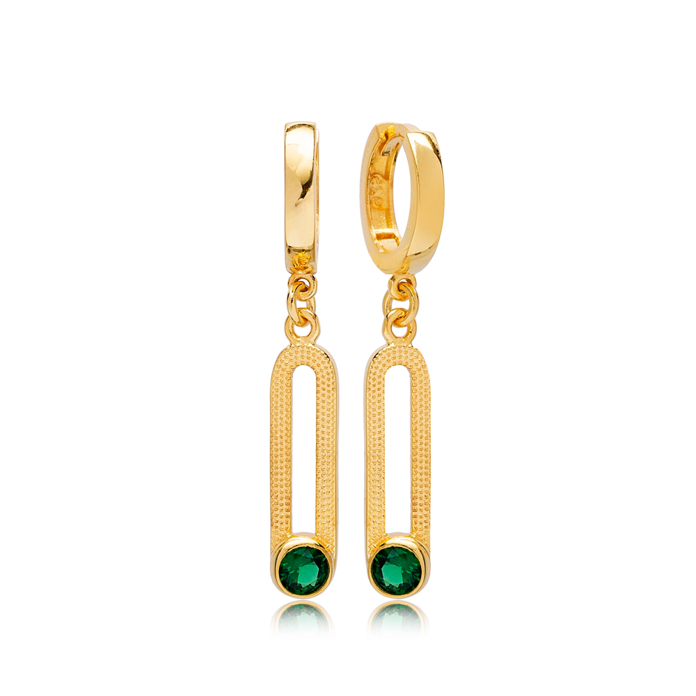 May Emerald Birthstone Ø12 mm Hoop Dangle Earrings Wholesale Turkish 925 Silver Sterling Jewelry