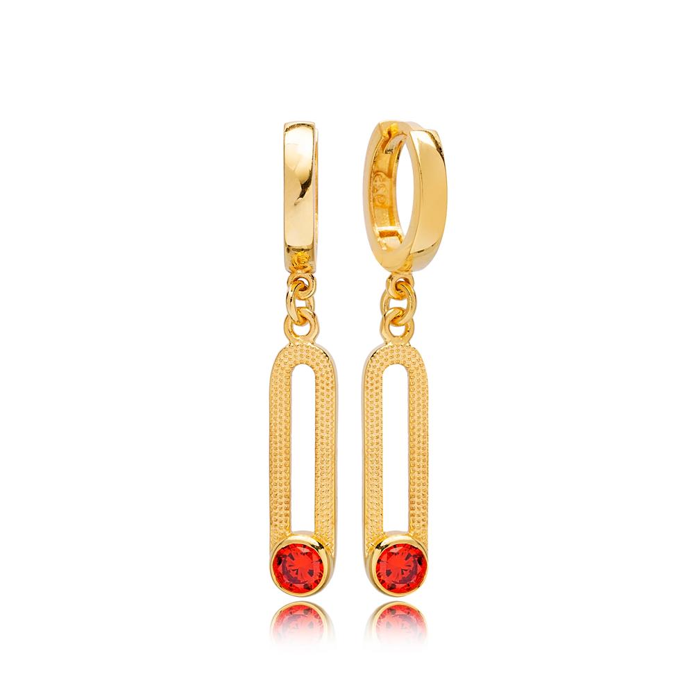 Unique July Orange Quartz Birthstone Ø12mm Hoop Dangle Earrings Wholesale Turkish 925 Silver Sterling Jewelry