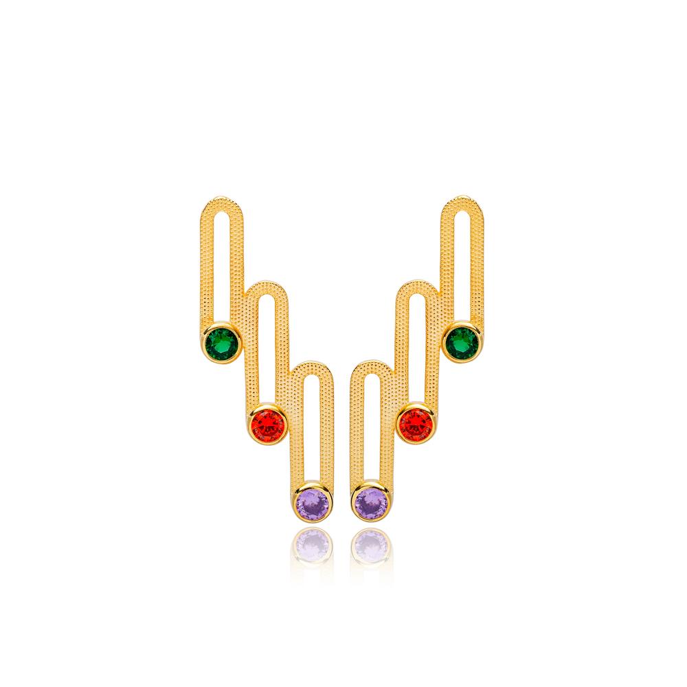 Chic Geometric Design Colorful Zirconia Stone Stud Earrings Turkish Handmade 925 Sterling Silver Jewelry