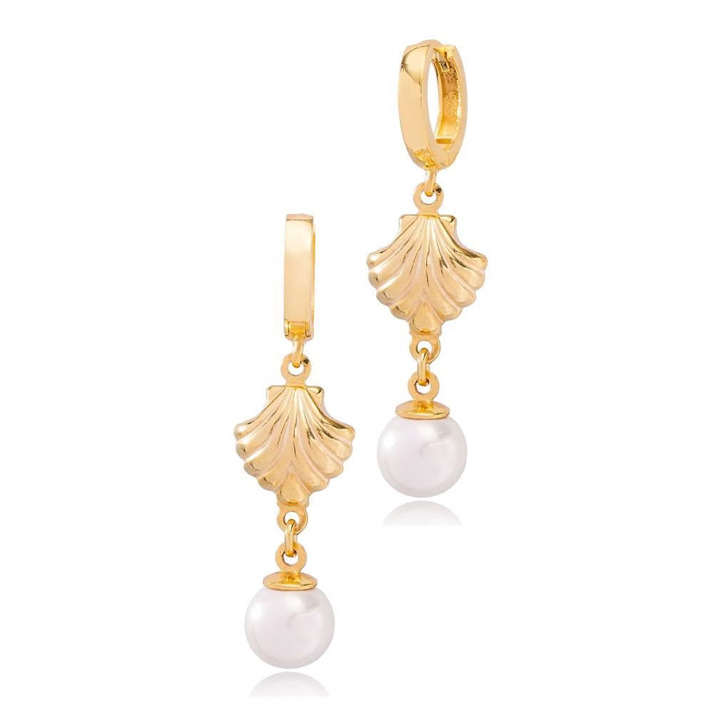 Elegant Pearl Seashell Style Dangle Earrings Wholesale 925 Silver Sterling Jewelry