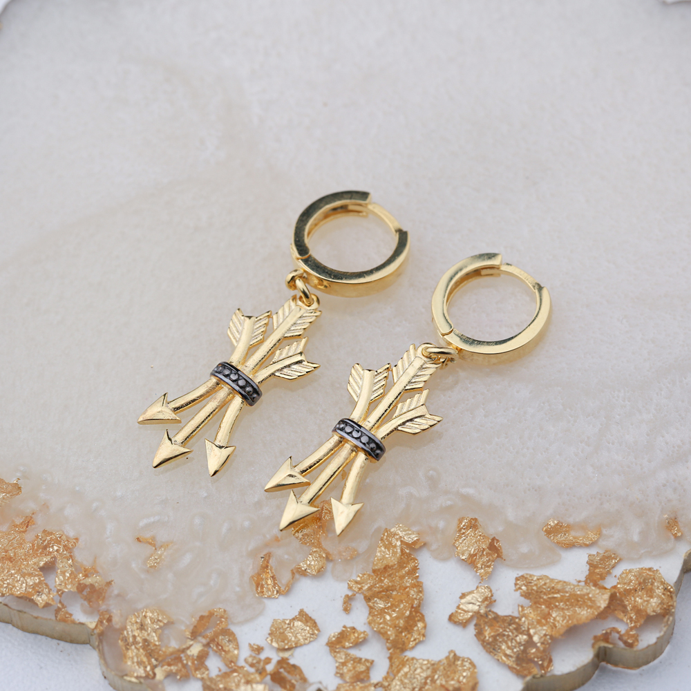 Unique Arrow Design Black Zircon Dangle Earring Turkish Wholesale 925 Sterling Silver Jewelry
