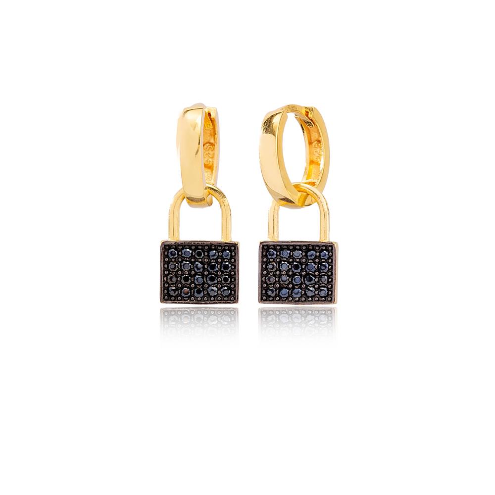 Black Zircon Padlock Design Ø12mm Hoop Dangle Earrings Turkish Wholesale Handmade 925 Sterling Silver Jewelry