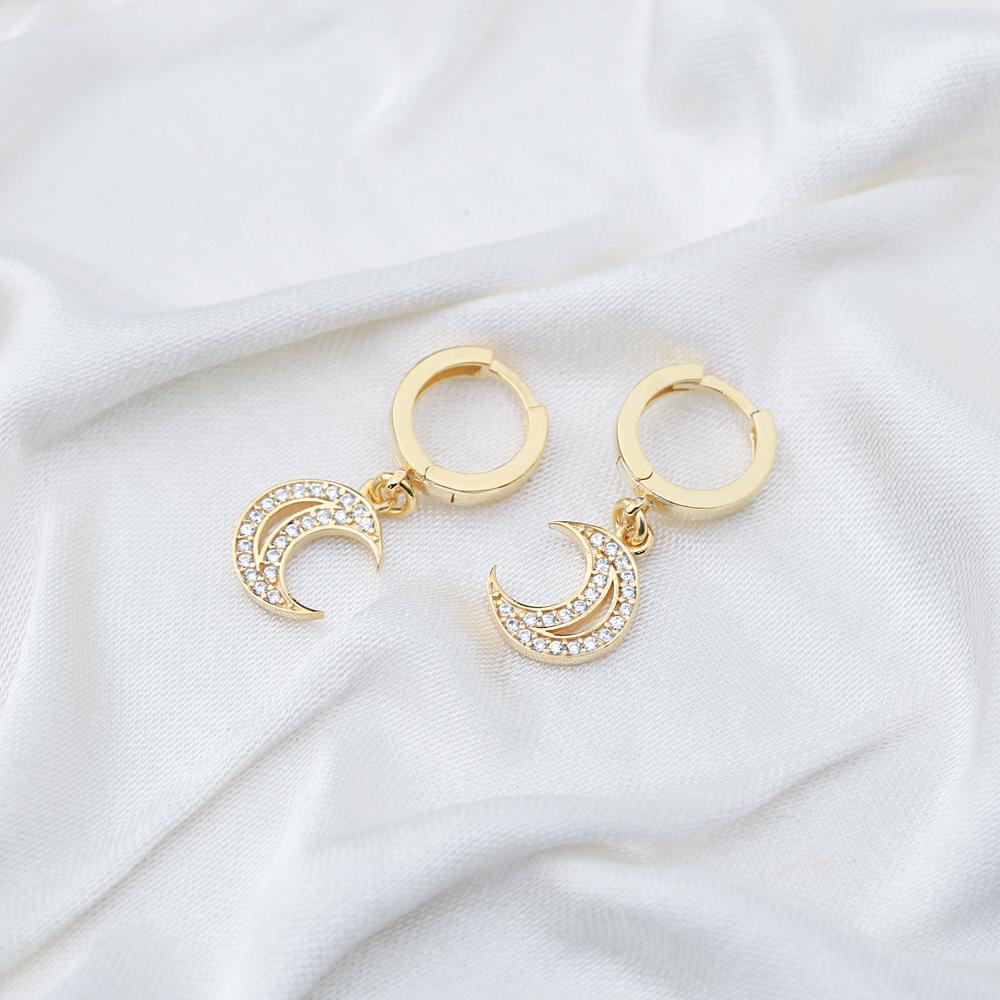 Moon Design Zircon Stone Ø12mm Hoop Dangle Earrings Turkish Wholesale Handmade 925 Sterling Silver Jewelry