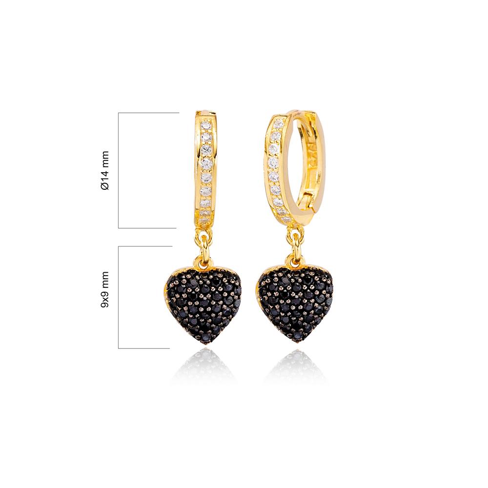 Stylish Heart Design Black Zircon Stone Ø12mm Hoop Dangle Earrings Turkish Wholesale Handmade 925 Sterling Silver Jewelry