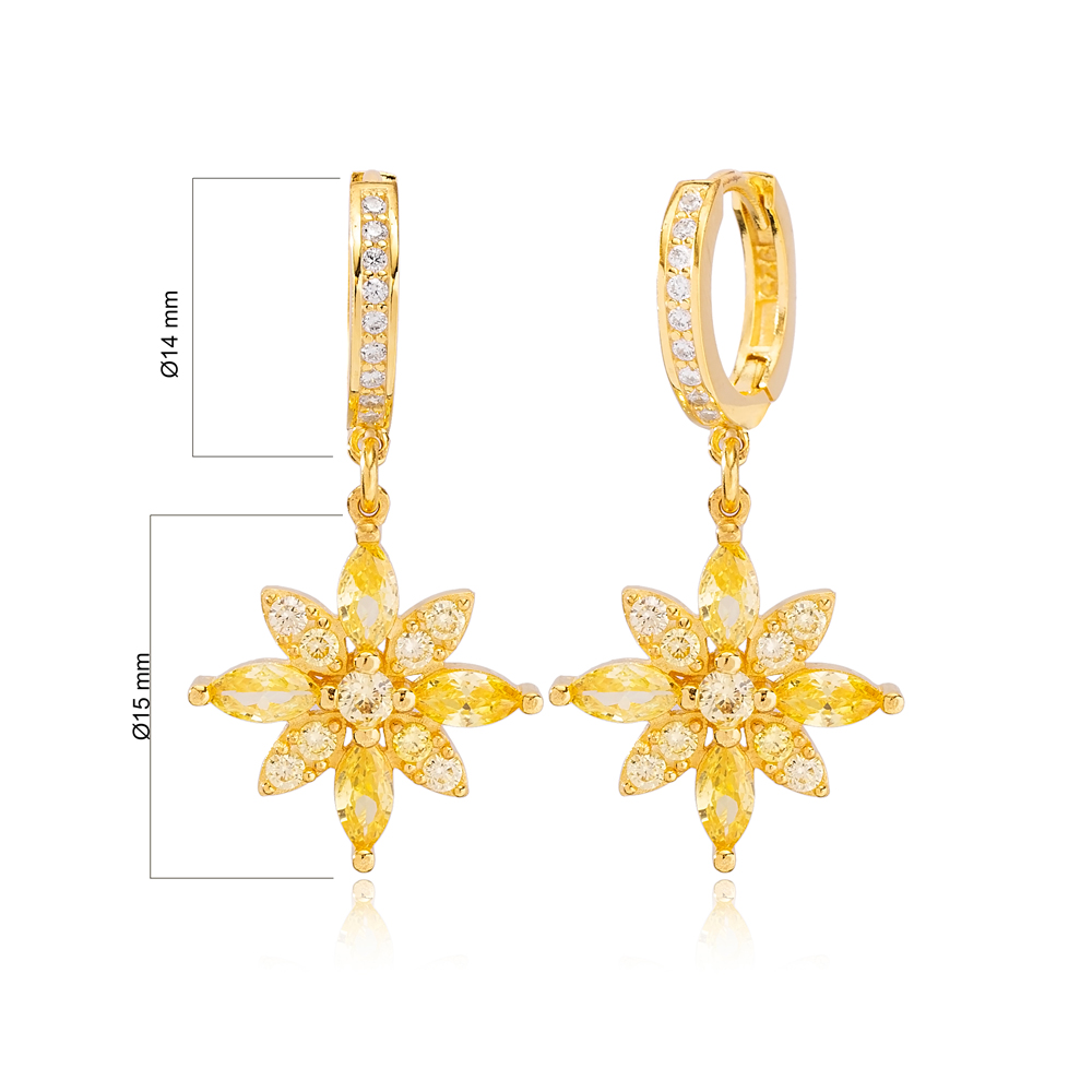 Elegant Flower Design Citrine Stone Dangle Earrings Turkish Wholesale Handmade 925 Sterling Silver Jewelry