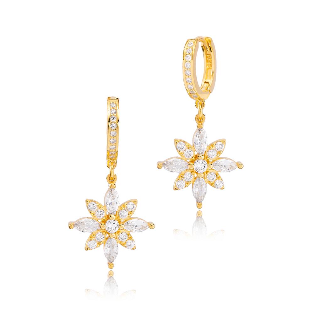 Stylish Flower Design Citrine and Zircon Stone Dangle Earrings Turkish Wholesale Handmade 925 Sterling Silver Jewelry