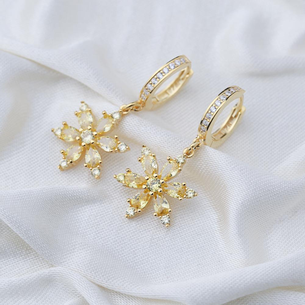 Chic Flower Design Citrine Stone Dangle Earrings Turkish Wholesale Handmade 925 Sterling Silver Jewelry