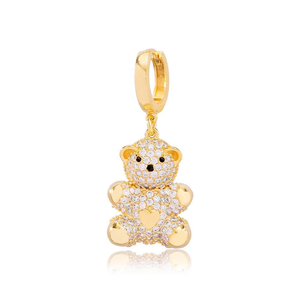 Cute Bear Design Zirconia Stone Dangle Single Earring Turkish 925 Silver Sterling Silver Jewelry