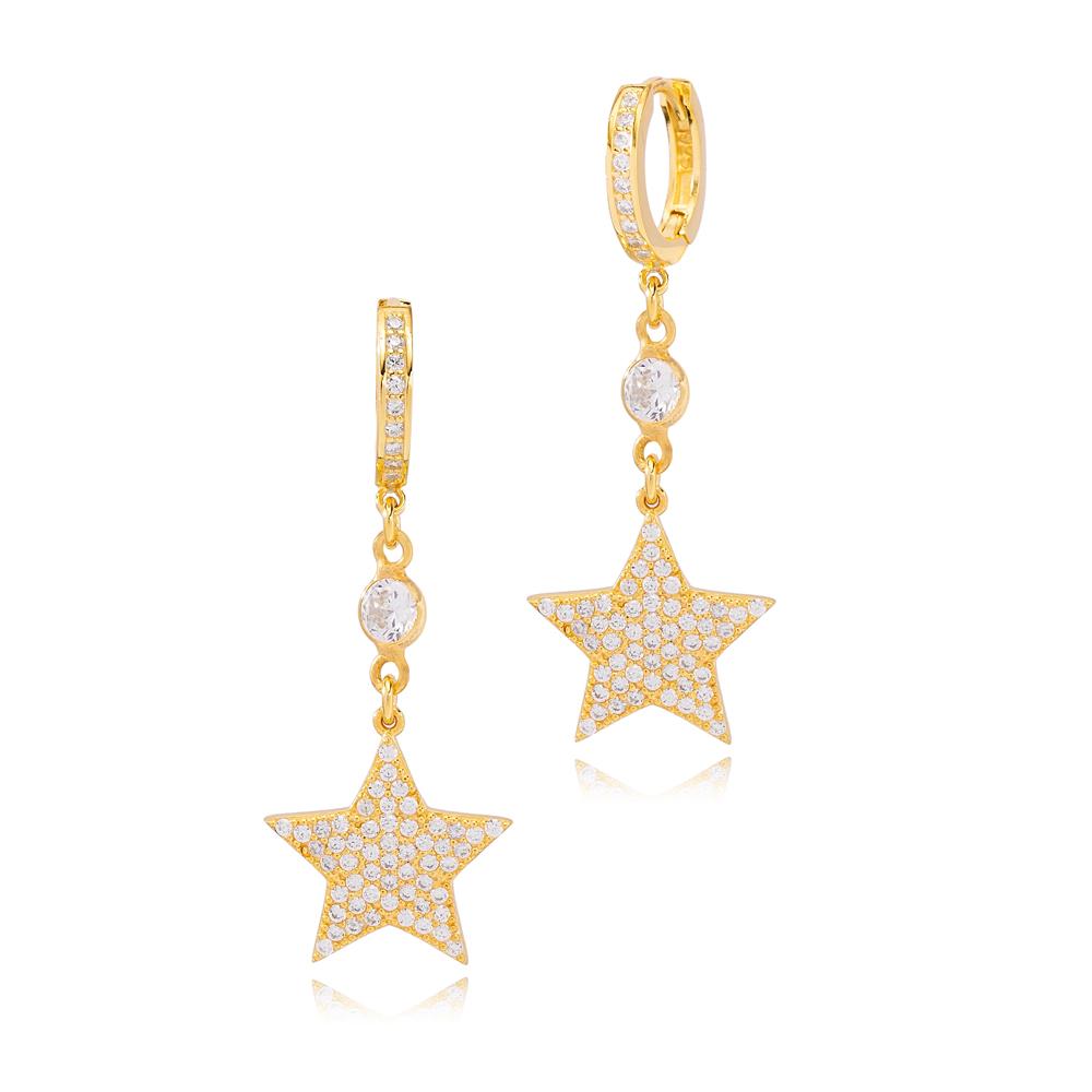 Trendy Star Design Zircon Stone Dangle Earrings Turkish Wholesale Handmade 925 Sterling Silver Jewelry