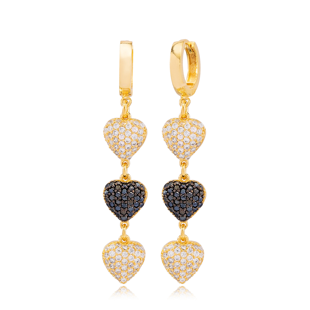Stylish Three Heart Charms White and Black Zircon Dangle Long Earrings Wholesale Turkish Handmade 925 Sterling Silver Jewelry