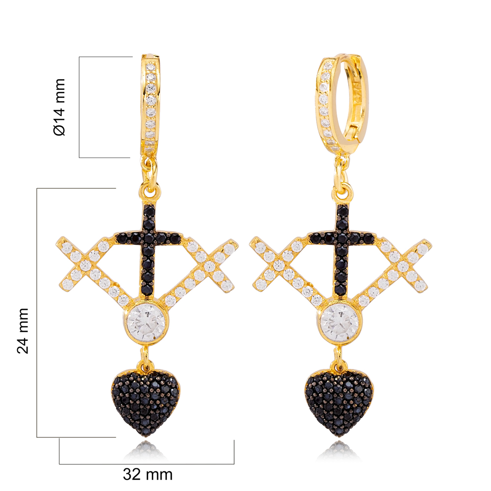 Unique Cross Design White and Black Zircon Dangle Earrings Wholesale Turkish Handmade 925 Sterling Silver Jewelry