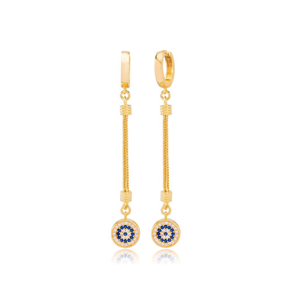 Elegant Round Charm Zircon and Sapphire Stone Dangle Long Earrings Wholesale Turkish Handmade 925 Sterling Silver Jewelry