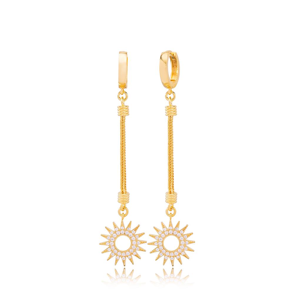 Unique Sun Charm Zircon Stone Dangle Long Earrings Wholesale Turkish Handmade 925 Sterling Silver Jewelry