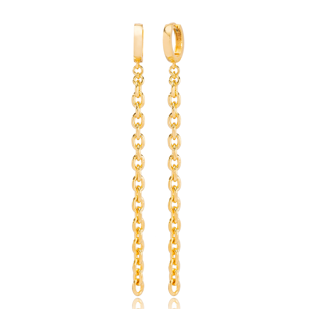 Classic Chain Style Dangle Long Earrings Wholesale Turkish Handmade 925 Sterling Silver Jewelry