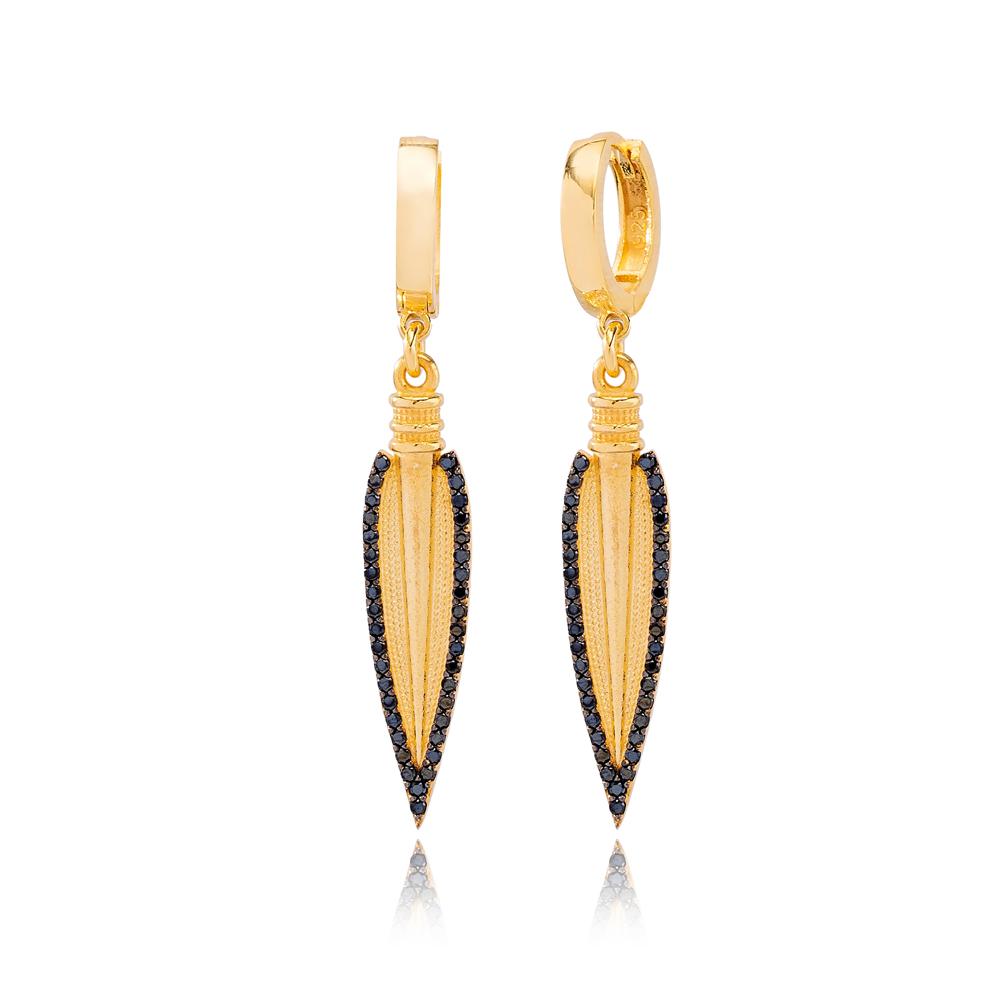 Unique Spear Design Black Zircon Stone Dangle Earrings Turkish Wholesale Handmade 925 Sterling Silver Jewelry