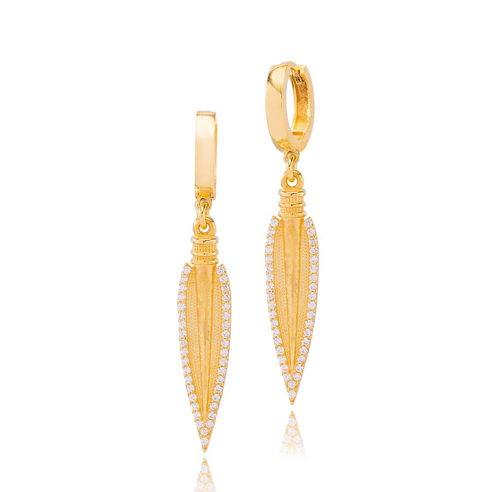 Spear Design Zircon Stone Ø 12mm Hoop Dangle Earrings Turkish Wholesale Handmade 925 Sterling Silver Jewelry